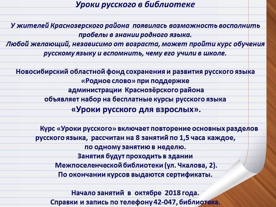 Уроки русского в библиотеке
